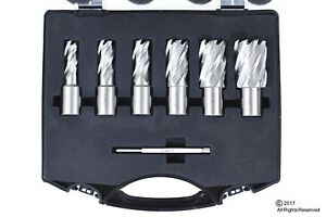 6pc Set Annular Cutter Cobalt 3 4 Weldon Shank 9 16 1 1 16 Magnetic Drill Bit