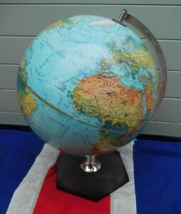 Stylish Top Shelf Vintage Ocean Blue Scan English Globe Of The World