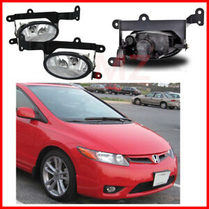 For 06 08 Honda Civic Coupe Fog Lights Driving Lamps Set Pair Assembly Kit Oe
