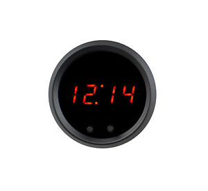 2 1 16 Universal Automotive Digital Clock Red Led Gauge With Black Bezel