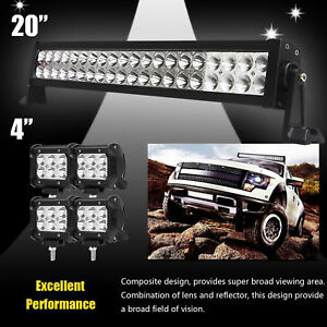 24inch Led Light Bar Spot Flood Combo Cree 4x 4 Pods Ford Suv 4wd Jeep Ute 20