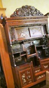 Antique 18c Japanese Shibajama Shodana Collector S Cabinet Intricate Carving