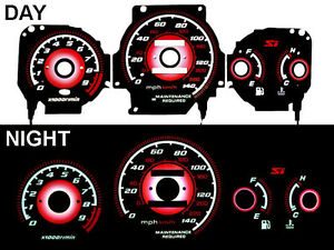 Type R Style Red Reverse Glow Gauge Black Face For 1999 2000 Honda Civic Si Mt