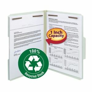 Smead 100 Recycled Pressboard Fastener File Folder 1 3 cut Tab 1 Expansion