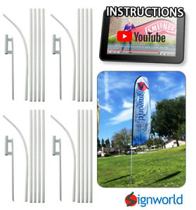 4 Pack Feather Flutter Swooper Flag 16 Pole Spike Ground Stake Mount Kit