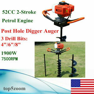 52cc Auger Post Hole Digger Gas Powered Auger Borer Fence Ground Drill 3 Bits Us