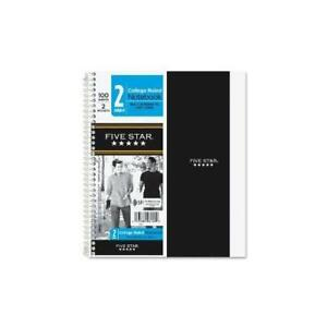 five Star Wirebound College Ruled Notebook 2 Subject me 06180 12 Pack