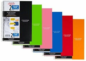 five Star Spiral Notebook 2 Subject College Ruled 9 1 2 X 6 6 Pack