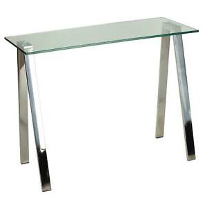 Cortesi Home Trixie Glass Top Stainless Steel Frame Desk Console Table