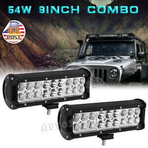 2x 54w 9 Inch Led Work Light Bar Spot Flood Fog Driving Offroad Suv 4wd Truck