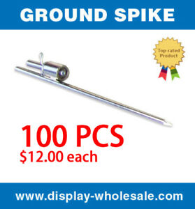 Ground Spike For Feather Teardrop Flag Pole Free Spinning Stake Mount 100 Pcs