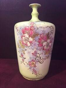 Beautiful Antique Royal Bonn Bottle Vase Wild Roses Franz Anton Mehlem Germany
