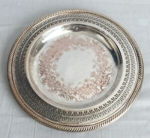 International Silver Co Silver Plate Serving Tray 10 Lovely Patina Filigree