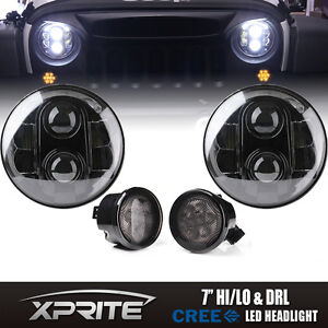120w G1 Led Headlight With Halo Smoke Turn Signal Combo For 07 18 Jeep Wrangler