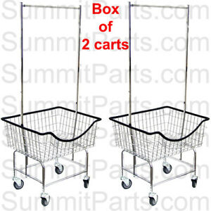 2pk The Laundrocart Commercial Wire Laundry Cart Basket With Chrome Hanger