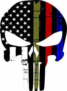 Punisher Skull Decal Military Police Fire Exterior Window Decal Var Sizes