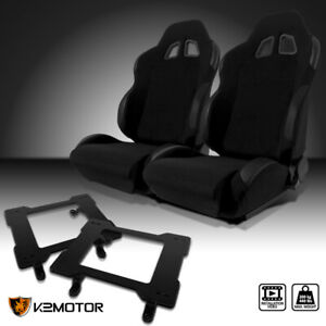 Fit 1979 1998 Mustang Black Cloth Pvc Leather Racing Seats laser Welded Brackets