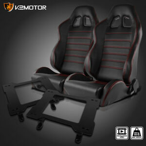 79 98 Mustang Black Pvc Leather Racing Seats Red Stitch Stripes brackets Pair