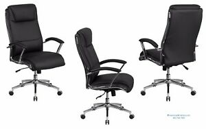 Set Of 12 Modern High Back Office Desk Conference Chairs Lumbar Black Leather