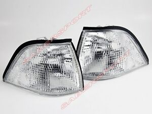 Pair Clear Corner Parking Signal Lights For 1992 1999 Bmw E36 Coupe Convertible