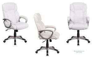 16 White Leather Mid Back Office Desk Conference Chairs Modern Cushioned Padded