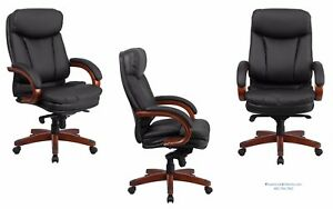 5 Conference Chairs With Wood Arms And Base Black Leather Mahogany Wood