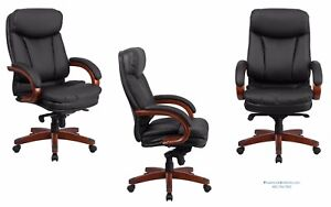 Set Of 18 Traditional Conference Office Desk Chairs Black Leather Wood Frame