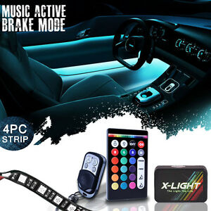 4pc 18 color Led Accent Neon Glow Interior Light Strip Kit For All Cars brake M