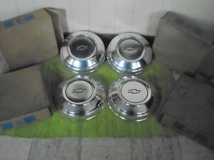 Nos 78 89 Chevrolet Police Dog Dish Hub Caps 10 1 2 Set Of 4 Chevy Hubcaps