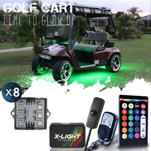 8x Body Glow Kit Led Lighting Underbody Pods For Club Car Ezgo Yamaha Golf Carts