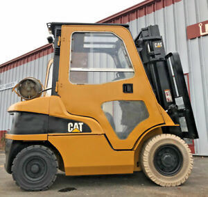 2007 Caterpillar Pneumatic P5000 5000lb Full Cab Forklift Lift Truck