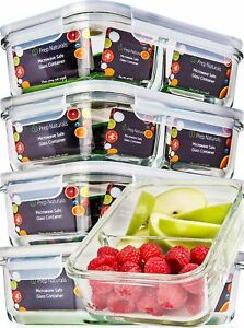 Glass Meal Prep Containers Glass 2 Compartment Glass Food Storage Containers