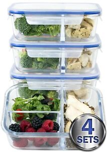 large Premium 4 Pack 3 Compartment Glass Meal Prep Containers W New Divider