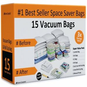 Home complete Vacuum Storage Bag Bundle 15 Space Saver Bags And Free Travel