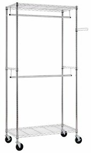 Finnhomy Heavy Duty Rolling Garment Rack Clothes Hangers With Double Rods And