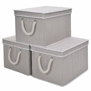Storage Box With Lid Strong Foldable Basket Organizer Bin With Cotton Rope