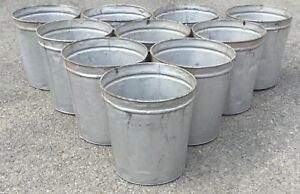 Old Vtg Tin Metal Maple Syrup Sap Harvesting Pail Planter Bucket Lot Set Of 10