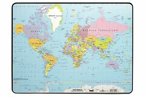 Durable World Map Desk Pad 15 3 4 X 20 3 4 Inches Multicolor 721119