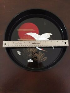 Japanese Black Lacquer Plate With Hand Painting Crane 12 Inch