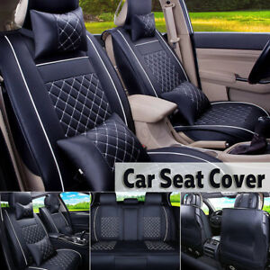 Black Suv Car Auto Pu Leather Seat Full Set Front Rear Covers Cushion Pillow
