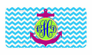 Personalized Monogrammed License Plate Auto Car Tag Chevron Anchor Turquoise