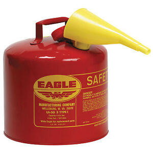 Type L Safety Cans Gas 5 Gal Red Funnel