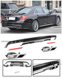 For 14 17 S Class W222 Amg Style Rear Bumper Quad Exhaust Muffler Tips Diffuser