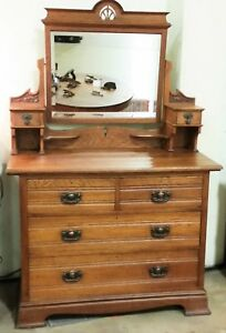 Vtg English Oakarts Crafts Mission Dresser Chest Tilt Mirror Los Angeles Area