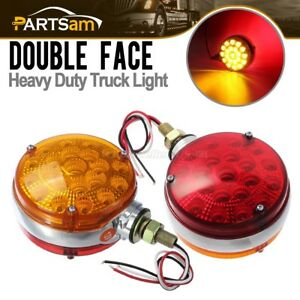 2pc Round 42 Led Red Amber Side Marker Turn Signal Semi Truck Fender Stud Lights