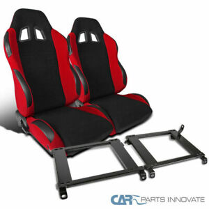 Fit 1996 2000 Honda Civic Black Red Racing Bucket Seats mounting Brackets Pair