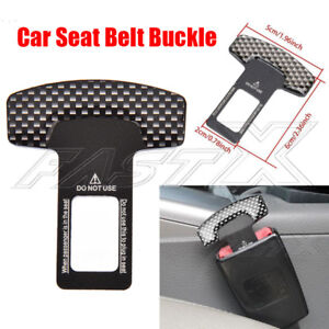 1ps Car Safety Seat Belt Buckle Alarm Stopper Carbon Look Null Insert Clip Clasp