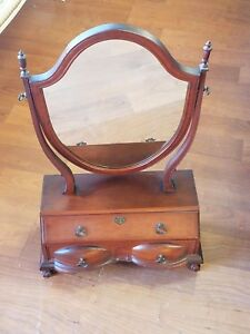 Vintage Dressing Mirror Circa 1950 S Cherry Brass Pulls Shield Mirror