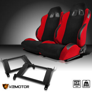 For 96 00 Honda Civic 2 3 4dr Red Cloth Pvc Leather Racing Seats Brackets Pair