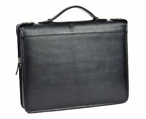 Real Leather Document Conference Bag A4 Folder Folio Case Grab Handle Black New